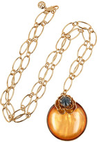 Tory Burch Gold-plated, crystal and resin necklace