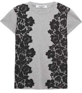 Valentino Corded Lace-paneled Cotton-jersey T-shirt