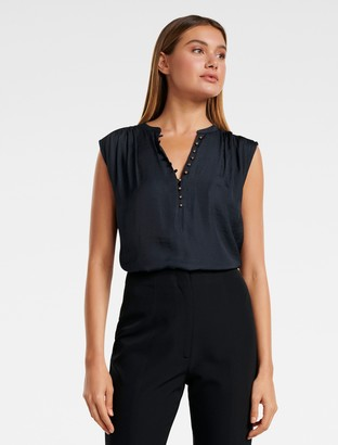 Forever New Lucy Button-Front Essential Top - Navy - 6