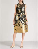 Oscar de la Renta Metallic fil coupé fit-and-flare taffeta dress