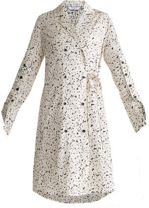 Paisie Double Breasted Dress With Sleeve Detail In Ink Print In Ivory & Black