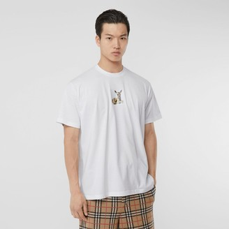 Burberry Deer Print Cotton Oversized T-shirt