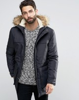 ONLY & SONS Parka with Faux Fur Fleece Lined Hood