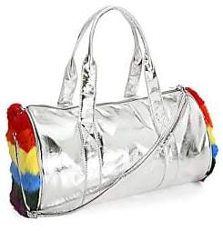 Bari Lynn Women's Rainbow Rabbit Fur Side Metallic Duffel Bag