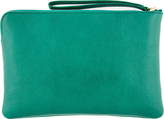 Marc Jacobs Green Leather Blue-Studded The Deluxe Clutch