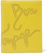Smythson Piccadilly Perforated Leather Passport Cover - Yellow