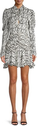 Bardot Zebra-Print Ruched Mini Dress