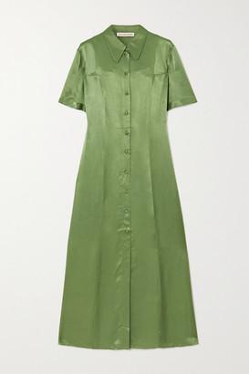 ALEXACHUNG Hammered-satin Midi Shirt Dress - Green