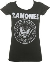 Amplified Ladies Charcoal Classic Ramones Logo T Shirt from