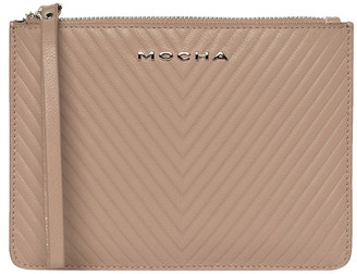 Mocha Chevron Zip Top Leather Clutch - Taupe