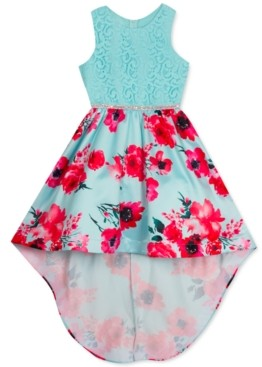 Rare Editions Big Girls Lace-Bodice Floral-Skirt High-Low Dress