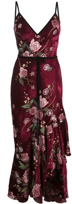Marchesa Notte Sleeveless Floral Embroidered Velvety Dress