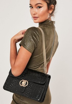 Missguided Black Croc Double Ring Chain Bag