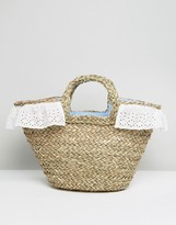 South Beach Straw Beach Bag With Gingham Lining