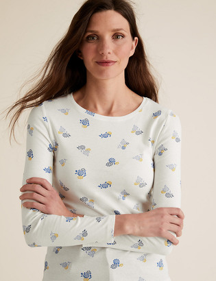 Marks and Spencer Pure Cotton Floral Regular Fit Top
