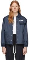 Comme des Garcons Navy Logo Coaches Jacket