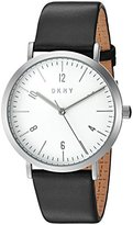 DKNY Women's Quartz Stainless Steel and Leather Casual Watch, Color:Black (Model: NY2506)