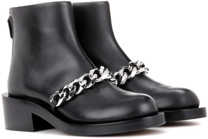 f1fdf5cd91f Chain leather ankle boots