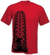 BANG TIDY CLOTHING Men's Downhill MTB Tyre Track T Shirt Grey M