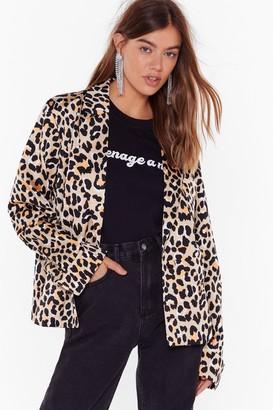 Nasty Gal Womens Catch Meowt Oversized Leopard Blazer - Beige - 4