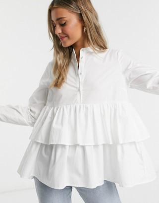 Y.A.S Dawn tiered blouse in white