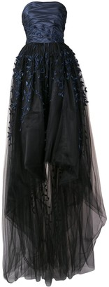 Oscar de la Renta Strapless Embroidered Tulle Gown