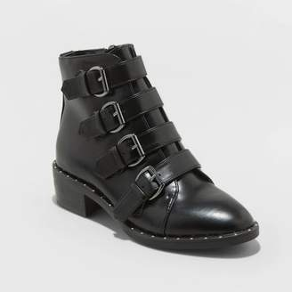 A New Day Women's Nikko Faux Leather Studded Buckle Bootie Black
