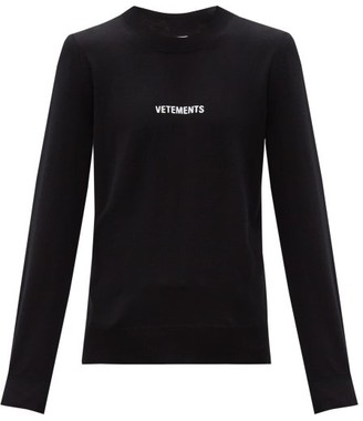 Vetements Logo-embroidered Wool Sweater - Black