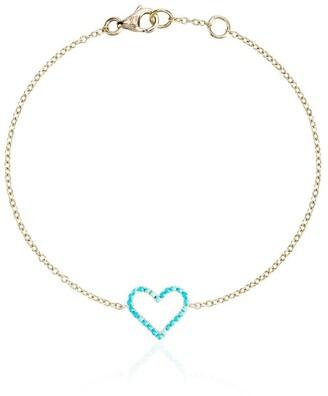 Rosa de la Cruz 18kt Yellow Gold Turquoise Heart Bracelet