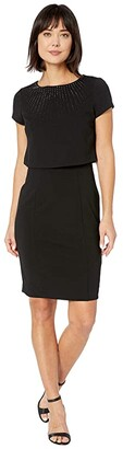 Adrianna Papell Embellished Popover Sheath Dress (Black) Women's Dress