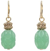Lauren Ralph Lauren Small Textured Metal Bead w/Carved Bead Double Drop Earring (Gold/Jade) - Jewelry