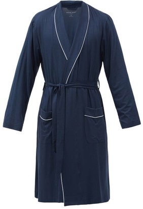 Derek Rose Basel Piped-trim Modal-blend Robe - Navy