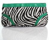 Lauren Merkin Green Black White Calf Hair Leather Zebra Print Clutch