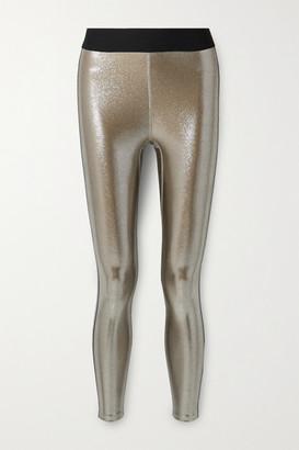 Heroine Sport Jetset Striped Metallic Stretch Leggings - Silver