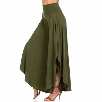ZZOU Women's Casual High Slit Leg Yoga Pants Cropped Palazzo Pants Split Flowy Long Loose Comfy Ruffled Flared Lounge Trousers Extra Wide Harem Comfy Skirt Lace Ladies Gathered Draped Baggy