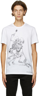 Alexander McQueen White Lovers Skeleton Print T-Shirt