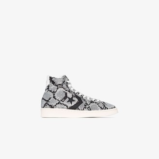 Converse Grey Snakequins Pro leather high top sneakers