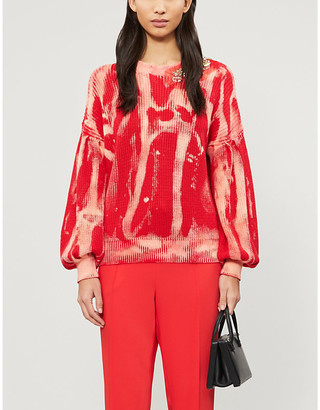 Pinko Abstract-print embellished cotton-knit jumper