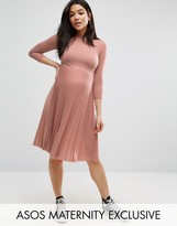 Asos High Neck Midi Dress with Pleated Skirt