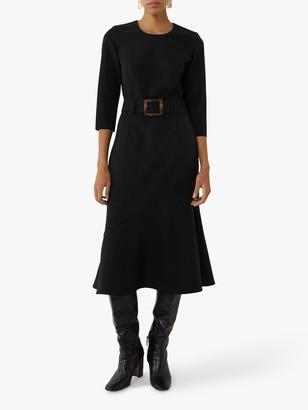 Warehouse Buckle Flippy Midi Dress, Black
