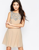 Liquorish Fit and Flare Dress with Embellished Yoke