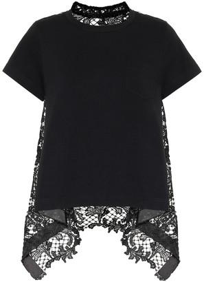 Sacai Lace-trimmed cotton T-shirt