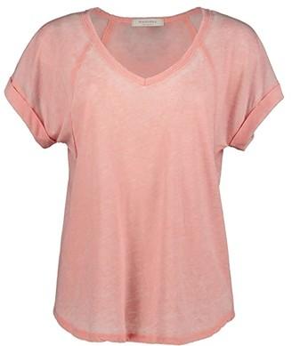 Mod-o-doc Burnout Wash Jersey V-Neck Seamed Short Sleeve Tee (Indigo Ink) Women's Clothing