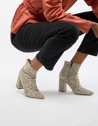 Public Desire Empire snakeskin block heeled ankle boots