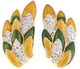 Judith Leiber Crystal & Enamel Feather Clip-On Earrings