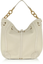 Jerome Dreyfuss Tanguy Creme Leather and Suede Shoulder Bag