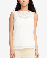 Lauren Ralph Lauren Petite Embroidered Tulle Top
