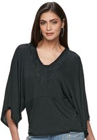 JLO by Jennifer Lopez Women's Lace Dolman Tee