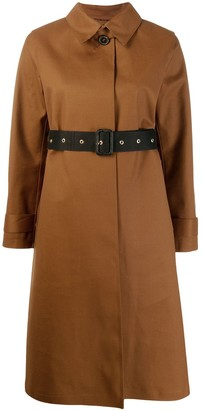 MACKINTOSH ROSLIN Brown Bonded Wool & Mohair Single Breasted Trench Coat | LR-061