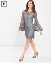 White House Black Market Petite Metallic Lace Bell-Sleeve Shift Dress